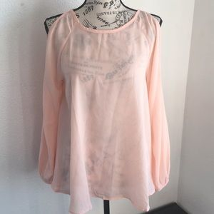 Women's semi sheer cold shoulder top. Size small